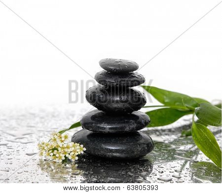 Spa Background with Bamboo and stones with whit flower
