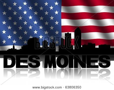 Des Moines skyline and text reflected with rippled American flag illustration