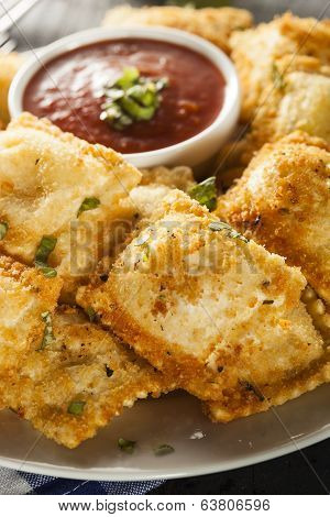 Homemade Fried Ravioli With Marinara Sauce