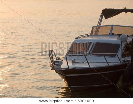 Motorboat in dusk