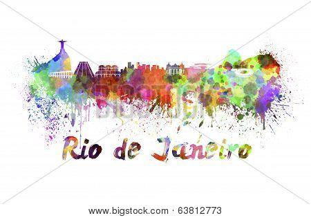 Rio De Janeiro Skyline In Watercolor