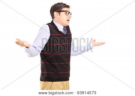 Ignorant man gesturing with hands isolated on white background