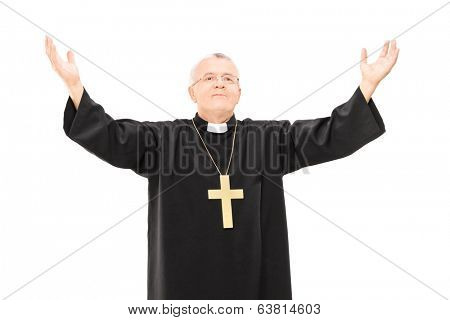 Mature priest with his hands in the air isolated on white background