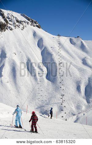 Chairlift in a ski resort Krasnaya Polyana. Sochi, Russia