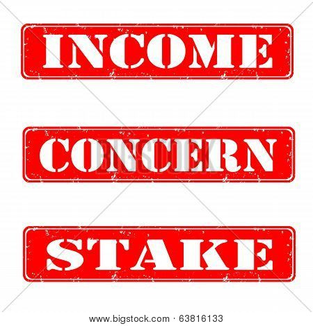 Income, Concern, Stake Stamps