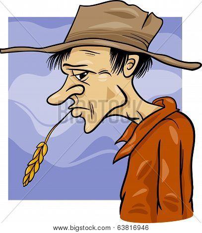 Country Farmer Cartoon Illustration