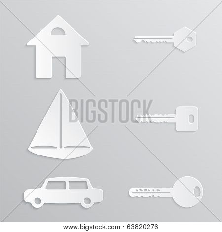 House Yacht Car Key Paper-cut