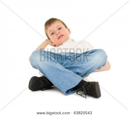 boy lay on your back isolated on white