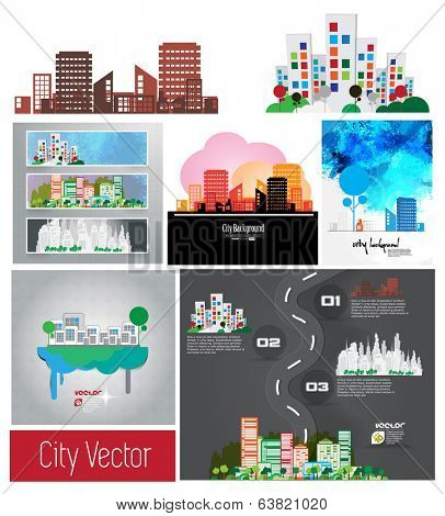 Vector of city skyline set