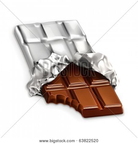 Chocolate bar, a tasty piece of chocolate, vector illustration isolated on white background