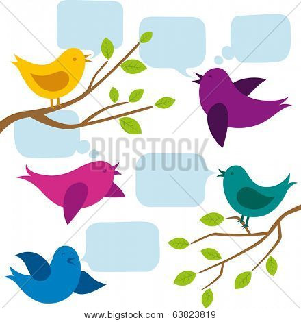 card with birds and speech bubbles