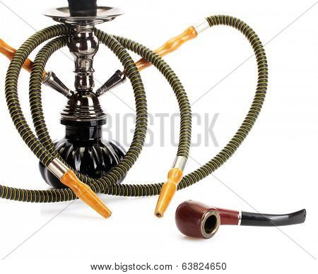 hookah and pipe on white background close-up
