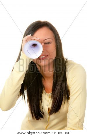 Woman Looking Through Rolled-up Paper