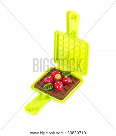 Waffle plasticine in waffle mold toy