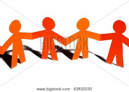 Paper Team Linked Together Partnership Concept