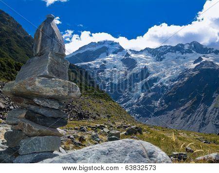 Hooker Valley Rock Cairn Aoraki Mt Cook Trail Nz
