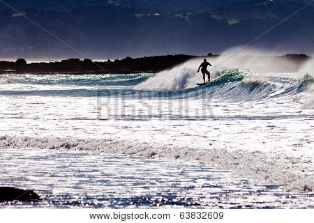 Silhouette Surfer Surfing Big Wave Ocean Surf