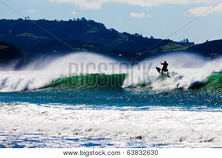 Surfboard Surfer Riding Big Wave Ocean Surf