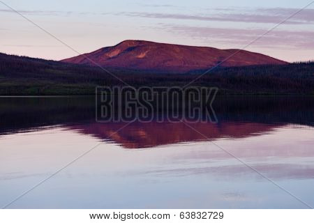 Little Salmon Lake Sunset Yukon Territory Canada