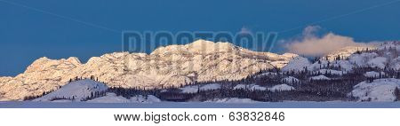 Snowy Winter Mountain Ranges Yukon Canada Panorama