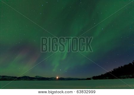 Aurora Borealis Dance Moonrise Lake Laberge Yukon