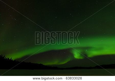 Frozen Lake Laberge Aurora Borealis Night Sky