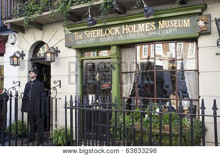 LONDON, UK - APRIL 15, 2014: The Sherlock Holmes museum is located on Baker Street and is dedicated to the fictional detective Sherlock Holmes.