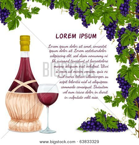 Wine jar and grape bunch background
