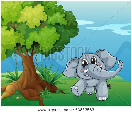 Illustration of an elephant beside the tree