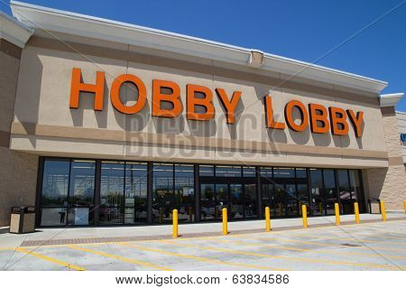 JACKSONVILLE, FL - APRIL 21, 2014: Front of a Hobby Lobby store. Hobby Lobby is a retail chain of arts and crafts stores in the U.S. As of 2012, the chain has 561 stores across the U.S.A.