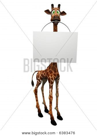 Cartoon Giraffe Holding Blank Sign.