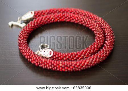 Knitted Necklace From Large Red Beads