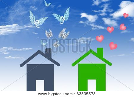 Illustrations Economical Houses And  House With Lots Of Money Embezzlement