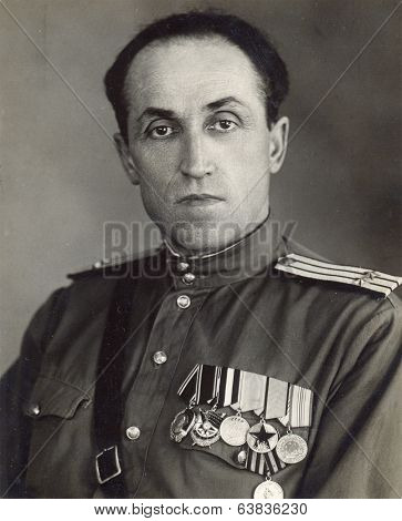 Ussr - Circa 1953: Studio Photo Portrait Of Colonel Of The Soviet Army.