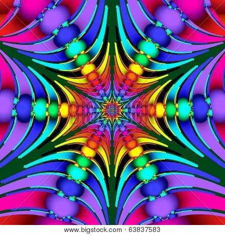 Beautiful Multicolored Fractal With Beads And Beams. Computer Generated Graphics.