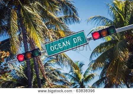Famous Street Sign Of Ocean Drive