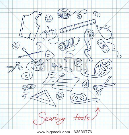 Sketch of sewing tools