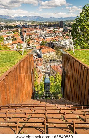 Funicular Descending With Panoramic View Of A City