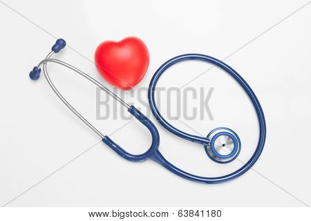 Stethoscope With Red Heart - Studio Shoot On White