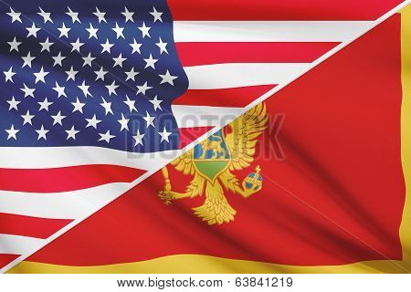 Series Of Ruffled Flags. Usa And Montenegro.