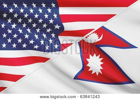 Series Of Ruffled Flags. Usa And Federal Democratic Republic Of Nepal.