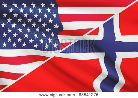 Series Of Ruffled Flags. Usa And Kingdom Of Norway.