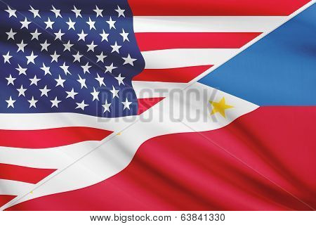 Series Of Ruffled Flags. Usa And Republic Of The Philippines.