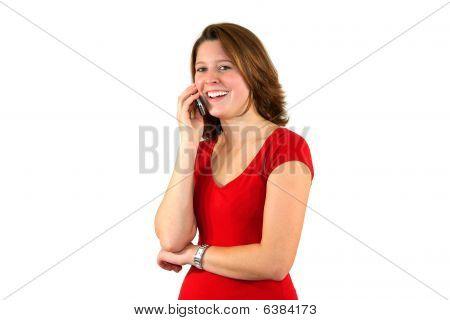 bela jovem discutindo no telefone celular