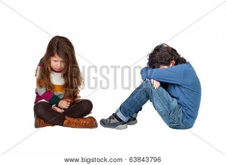 Sad children isolated on a white background