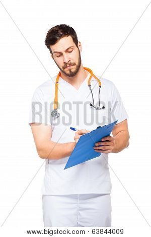Handsome Male Doctor With Clipboard Isolated