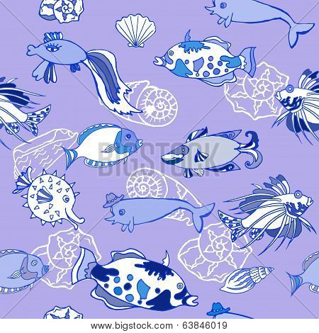 Seamless pattern  with  blue fishes