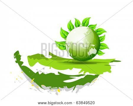 Beautiful concept for World Environment Day with mother earth globe and green leaves on white background.