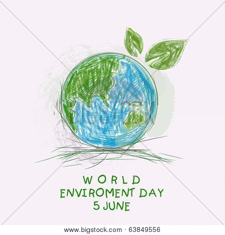 Sketch of mother earth globe with green leaves and stylish text World Environment Day background.