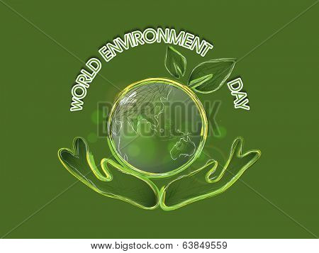 World Environment Day concept with mother globe protected by human hands, Save the Earth background.